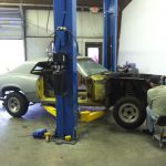 On the lift, ready to remove the suspension
