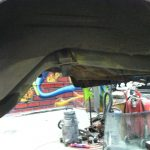 Evident body color overspray on the rear framerail